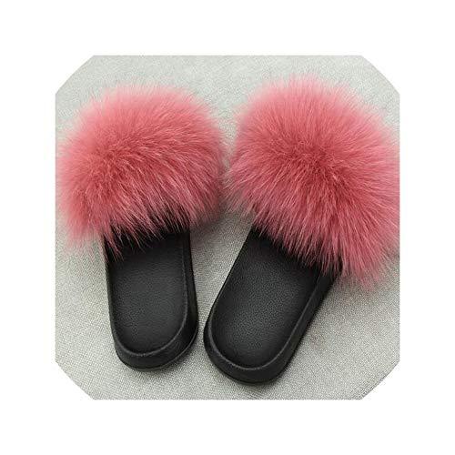 2019 Zapatillas Zapatos Diapositivas Peludo Tirón Mullida Sandalias De Los Fracasos Fondo Las Mujeres del Verano Color Rosa, EVA, 10