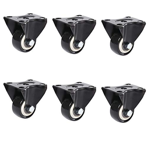 6X Heavy Duty Castor Wheels, Trolley Furniture Swivel Casters, Caster Wheels Industrial Castors Up To 200Kg Grass And Sand Suitable 1.5 Inch, Sofas, Desks, Suitcases/Chests, Etc.