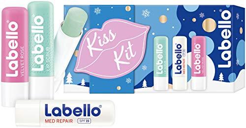 Labello Kiss Kit (3 x 5,5 ml), Geschenkset mit Labello Lip Scrub, Labello Med Repair und Labello Velvet Rose, Lippenpflege Set für extra zarte Küsse in der Winterzeit