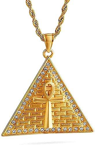 ZJJLWL Co.,ltd Collar Collar de circonita cúbica Símbolo Egipcio de la Vida Collar con Colgante de Encanto Hombres Acero Inoxidable Collar con Dije de triángulo Dorado para Mujeres Hombres Regalos
