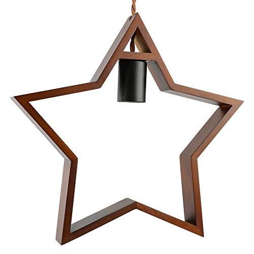 Zoarlan ウッド ペンダントライト 引掛けシーリング式 照明器具 星型 口金E26 木製 天井照明 間接照明 北欧風 電球別売り ブラウン