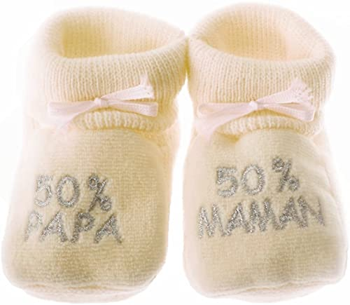 Happy baby Chaussons bébé brodés 50% Papa 50% Maman 0/3mois (Beige/argent)