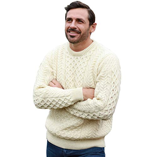 Mens Irish Wool Sweater, 100% Real Irish Wool, Traditional Knit Pattern, Natural, Large