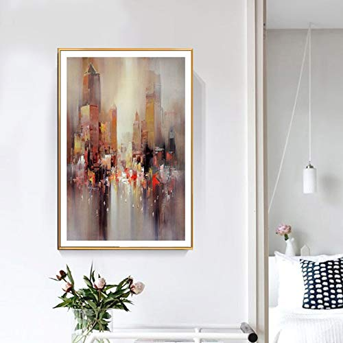 ganlanshu Wandbild Moderne abstrakte Ölarchitektur Plakat und Druck Wandbild Wohnzimmer Dekoration nach Hause rahmenlose Malerei 70cmX105cm