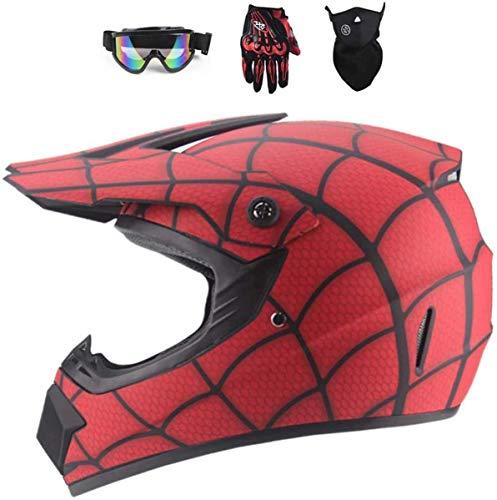 WEITY Fronte pieno MTB del casco, rosso/Ragnatela I bambini e gli adulti di motocross Casco set con gli occhiali di protezione maschera guanti, per Downhill MX AVT Dirt Moto Bike (M)