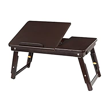 SONGMICS ULLD01Z Multi Function Lapdesk,Adjustable Bed Tray,Foldable Breakfast Table Tilting Top with Storage Drawer for Surfing Reading Writing Eating Pre-assembled Bamboo Brown