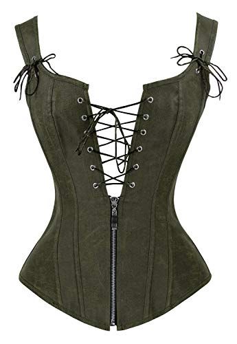 Charmian Women's Vintage Renaissance Lace Up Bustier Corset with Garters Olive X-Large