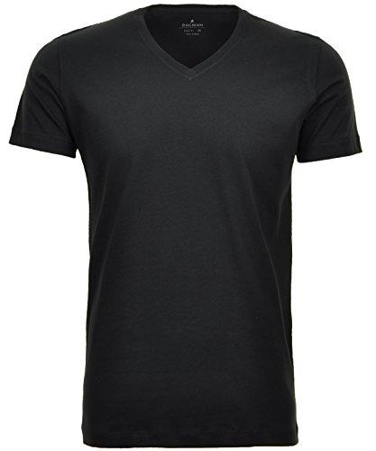 Ragman Herren 2 T-Shirt Doppelpack Bodyfit mit V-Ausschnitt, Schwarz, L