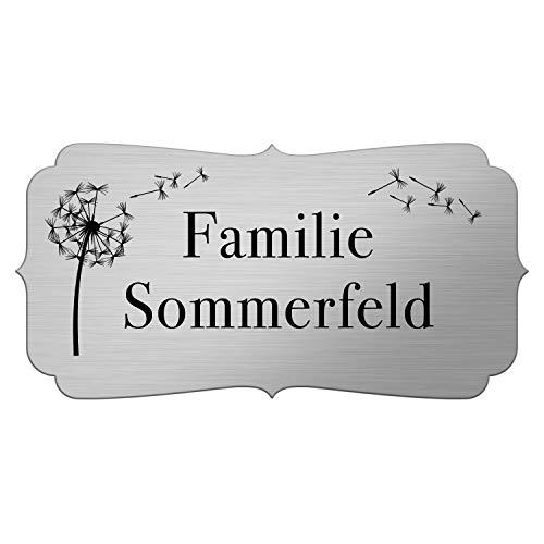 Pusteblume Briefkastenschild selbstklebend mit Gravur wetterfest - Türschild personalisiert mit Namen - Klingelschild Edelstahl Optik - Namensschild Briefkasten - Variante 2