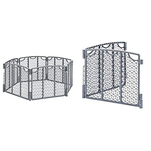 Evenflo Versatile Play Space, Cool Gray with Versatile Play Space 2-Panel Extension, Cool Gray