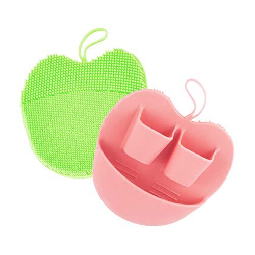 洗顔ブラシ シリコーン製 角質除去フェイスブラシ 洗顔器 手動 柔らか 美顔器 すべての肌タイプ用 深い清潔な肌、2パック (ピンク+グリーン)