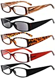Eyekepper 5 Pairs Reading Glasses for Women Reading Inlcude Reader Sunglasses +2.00 Reading Eyeglasses