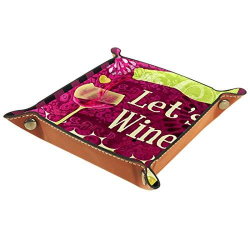 Caja de almacenamiento pequeña, bandeja de valet para hombre,Vino un poco uvas Red Country Wine Bebidas Pequeñas,Organizador de cuero para llaves de caja de monedas