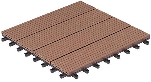 Gartenfreude 4600-1005-003 - Nunca terrazas del Piso de wpc Suelo de baldosas baldosas de 10-Set (Aproximadamente 0,9 m2), 30 x 30 cm, Perfil Hueco marrón