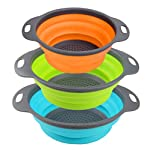 Kitchen Collapsible Colander Set of 3, HJYuan Silicone Colander Strainer Over the Sink Food Folding Water Filter Basket… 9 【 Foldable and Space Saving Design】Ergonomic, space-saving design. Strainers are foldable, so they do not take up much room in your kitchen cupboards. 【Safe and Comfortable】Using environmentally friendly Rubber and plastics materials,no smell.And it is very soft and comfortable. Closed home partner for life. 【Easy to Use】This round colander used for draining most foods like spaghetti, pasta, potatoes, broccoli, green beans, carrots, spinach and other veggies, to rinse your salad leafs, fruits and fresh vegetables.