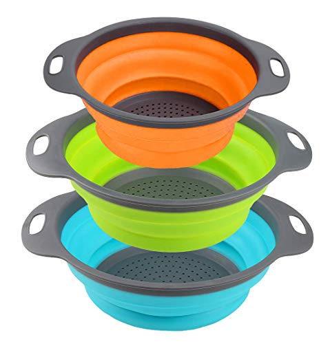 Kitchen Collapsible Colander Set of 3, HJYuan Silicone Colander Strainer Over the Sink Food Folding Water Filter Basket… 1 【 Foldable and Space Saving Design】Ergonomic, space-saving design. Strainers are foldable, so they do not take up much room in your kitchen cupboards. 【Safe and Comfortable】Using environmentally friendly Rubber and plastics materials,no smell.And it is very soft and comfortable. Closed home partner for life. 【Easy to Use】This round colander used for draining most foods like spaghetti, pasta, potatoes, broccoli, green beans, carrots, spinach and other veggies, to rinse your salad leafs, fruits and fresh vegetables.