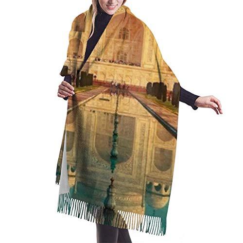 NEPower Women Pashmina Scarf, Taj Mahal Is Ivory White Marble Mausoleum Wraps And Shawls For Evening Dresses   Cashmere Warm Feeling   Large Size