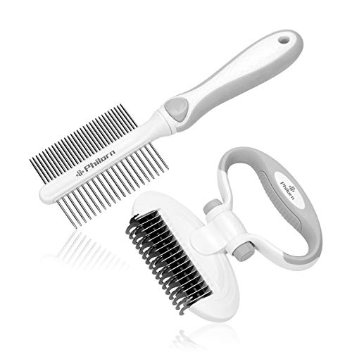 PHILORN Dog Dematting Comb [Very Safe & Adjustable], Cat Deshedding Tool, [9+17 Teeth] 2 Sided Undercoat Rake, Pet Comb Grooming Brush, Easily Removes Mats Tangles Knots for Pets with Short/Long Hair