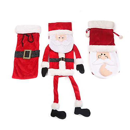 ZHDXW Cubierta de botella de vino de Navidad Navidad Santa Claus botella Cap ropa creativa mesa decoración mesa lugar regalo estilo 1