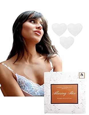 3 x Alluring Alice Reusable Chest Wrinkle Pad. Sticks to skin to plump out Wrinkles and smooths firms and tightens crepey skin. Heart shaped anti-wrinkle Silicone decollette pads (3) from Alluring Alice