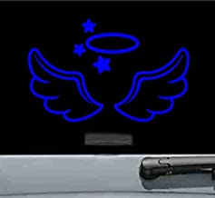 JS Artworks Angel Wings and Halo Vinyl Decal Sticker (Blue)