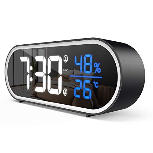 FOZHUATR Sveglia Digitale, Sveglia da Comodino LED con Temperatura e Umidità, USB Ricaricare, Doppia Allarme, Snooze, Controllo Vocale, 40 Suonerie, 5 Modalità di Luminosità e 4 Volumi, 12 24HR