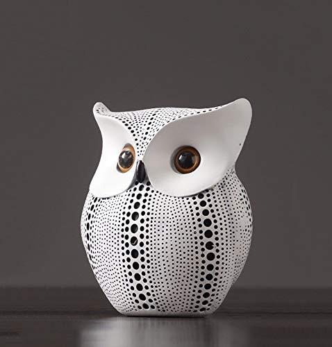 Relaxbx Uil Sculptuur Sieraden, Creative TV Kast Accessoires Zwart Wit Hars Decoratie,14 * 8 * 16cm (Kleur : Wit) geschenk