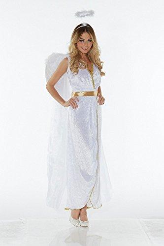shoperama Schutzengel Damen-Kostüm Flügel Heiligenschein Engelchen Engelskostüm Engel, Größe:L