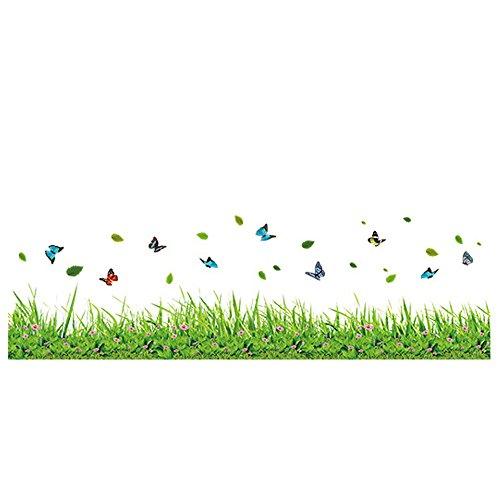 Winhappyhome Adesivi Wall Art Verdi Erbe Farfalla Fiore Battiscopa Linea Battiscopa Per Camera Da Letto Soggiorno Sfondo Rimovibili Decor Stickers