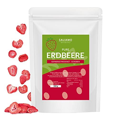 gefriergetrocknete Erdbeeren - Scheiben - Erdbeeren getrocknet 300g - Erdbeerchips - pure Frucht - 100 % Erdbeeren