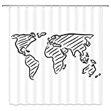 Xnichohe Abstract Shower Curtain Black White...