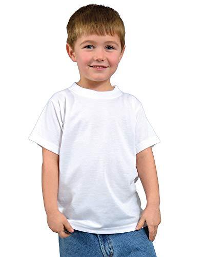 Monag Toddler Unisex 100% Polyester Sublimation Shirts (6, White)