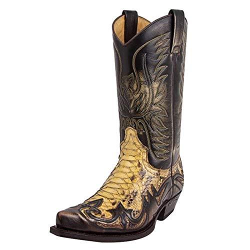 QKFON Python Bottes western pour homme, broderie colorblock pour homme, bottes de cowboy, chaussures modernes avec motif cool et unique