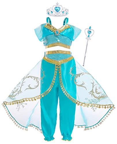 Jurebecia Costume da Principessa per Ragazze Jasmine Abiti da Festa Top con Paillettes Set di Pantaloni da Ragazza Pantaloni Lunghi Cosplay con scettro e Corona Verde