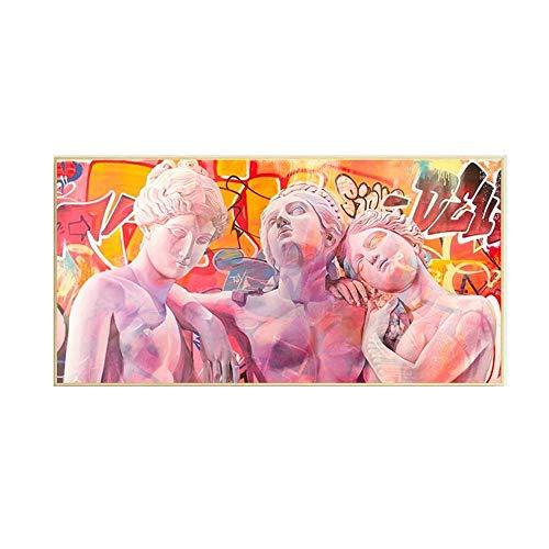 El Tres Diosa Vaporwave Escultura Poster Graffiti Arte Pinturas Antigua Grecia Pared Arte Impresiones para Decoracion Lienzo Cuadros 50x100cm No Marco