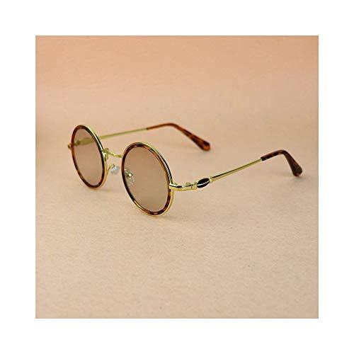 XIAOTANBAIHUO Anteojos Gafas redondas retro para mujer, protección antifatiga lentes Optiacl Gafas Gafas de sol Protección UV Gafas de seguridad (Color : Golden)