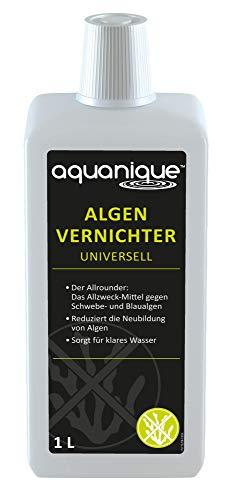 AQUANIQUE Algenvernichter Universell 1 l (für 20.000 l) Teichpflege gegen Algen Blaualgen Schwebealgen sorgt zuverlässig für klares Teichwasser