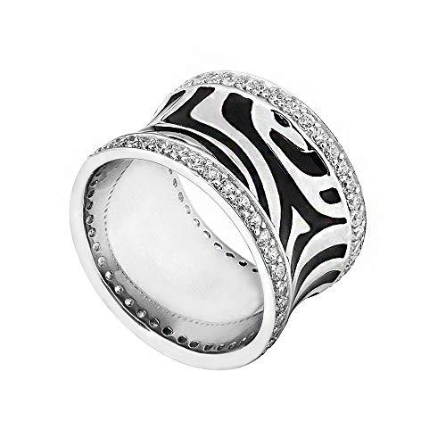 MATERIA Damen Ring Silber mit 92 Zirkonia Steinen - 925 Silber Ring Zebra Emaille schwarz Gr. 51 54 57 58 60 62 + Box #SR-21, Ringgrößen:54 (17.2 mm Ø)