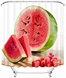 JZDH Duschvorhänge Sets 3D Meerblick Duschvorhänge Kokosnussmilch Wassermelone Muster Badezimmer Vorhang Wasserdicht Verdickter Bad Vorhang 180x180cm (71x71in)