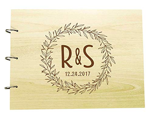Wood Engraved Photo Album Anniversary Scrapbook Personalized Rustic Wedding Guest Book