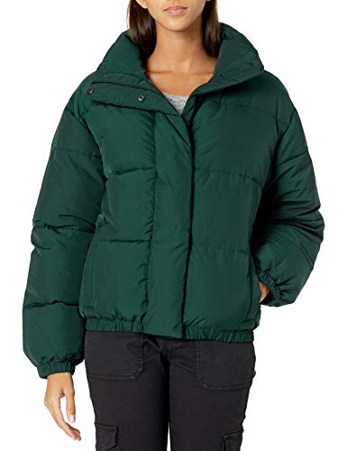 Daily Ritual Women's Relaxed-Fit Mock-Neck Short Puffer Jacket, Moss Green, Medium
