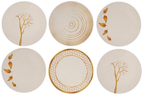 Melange 6-Piece 100% Melamine Dinner Plate Set (Gold Nature Collection ) | Shatter-Proof and Chip-Resistant Melamine Dinner Plates