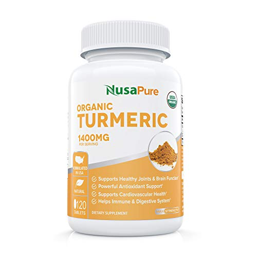 Turmeric Curcumin (USDA Organic) with Black Pepper Extract Vegan 1400mg per Serving - Organic Black Pepper Instead of BioPerine - 120 Tablets: No Pills