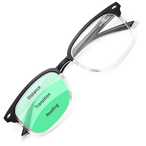 Gaoye Progressive Multifocal Reading Glasses Blue Light Blocking for Women Men,No Line Multifocus Readers with Spring Hinge (Black-Clear, 200)