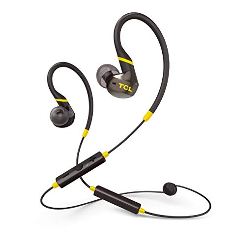 TCL ACTV100 Wireless in-Ear Earbuds Active Noise Isolating Secure Fit Sweatproof Headphones with 12 Hour Playtime and Quick Charge - Black