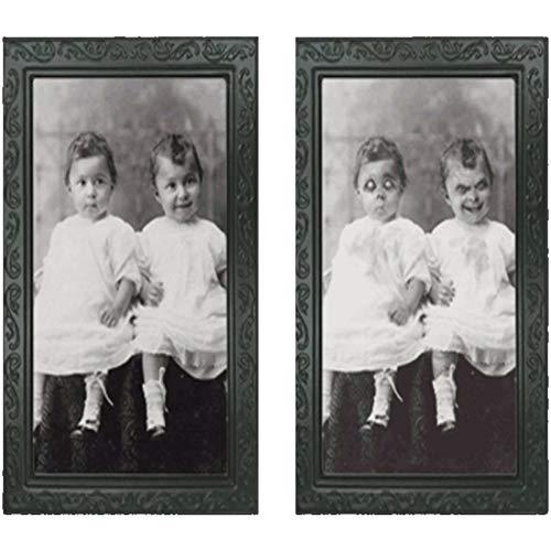 (H) 双子の赤ちゃん 3Dゴーストフォトフレーム インテリア雑貨 ハロウィン ホラー だまし絵 絵画 ポスター 額縁 不気味 お化け 壁紙 悪戯 寝室 肝試し ゾンビ 骸骨 恐怖 怖い リビング トイレ ベットルーム 人気