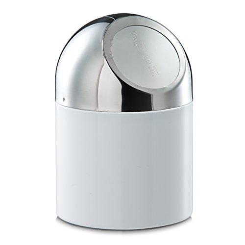 Zeller 27203 Tischabfalleimer, Edelstahl / Metall verchromt, weiß