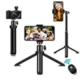 Phone Tripod, SYOSIN Extendable Phone Camera Tripod Mount with Bluetooth Control and Universal Clip,360°Rotating Flexible Tripod Stand Holder,Compatible with Smartphone, Camera and GoPro