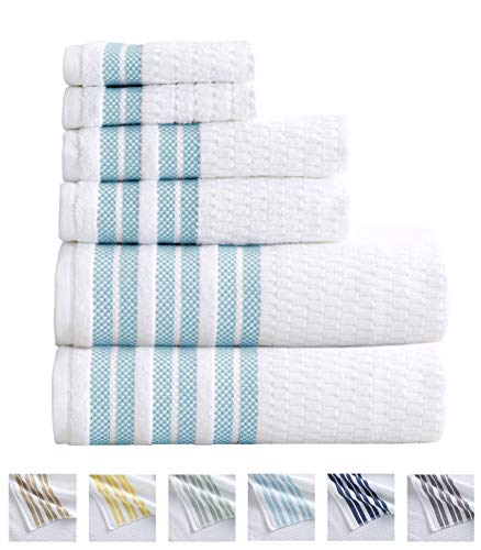 6-Piece Towel Set. 100% Cotton Popcorn Textured Striped Bathroom Towels. Quick Dry and Absorbent Towels. Set Includes 2 Bath, 2 Hand, and 2 Wash. Elham Collection. (6 Piece, Spa Blue)