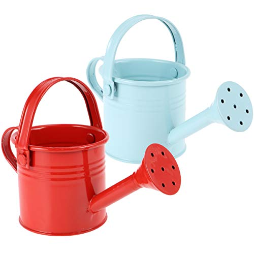 Hemoton Metal Watering Can, 2pcs Simple Kids Watering Can, Children Garden Watering Bucket Iron Watering Tin Can Sprinkling Kettle Kettle for Garden Home Plants Flower (Red and Light Blue)